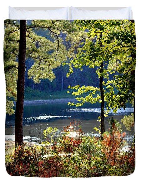 A Peek At Lake O The Pines Duvet Cover
