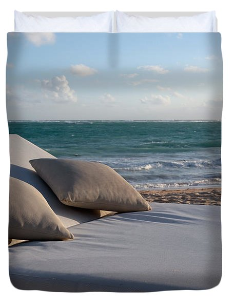 Duvet Cover featuring the photograph A Perfect Day On The Beach by Karen Lee Ensley