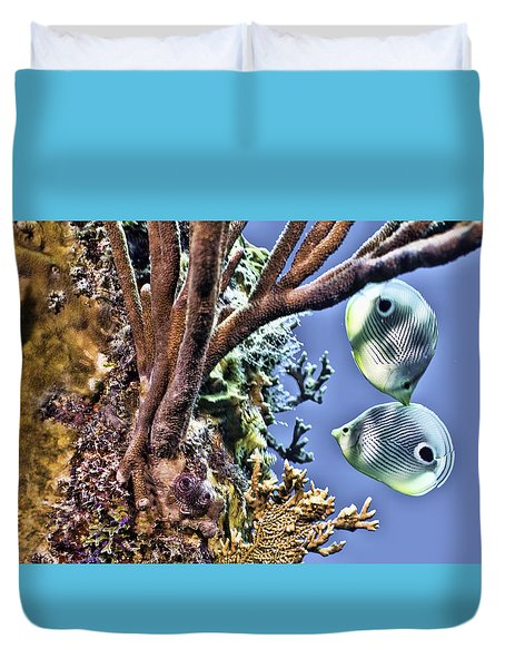 Two Butterfly Fish And Coral Reef Duvet Cover