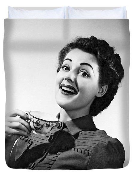 A Perky Woman Enjoys Her Cup Of Coffee. Duvet Cover