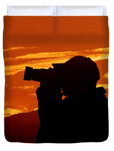 Duvet Cover featuring the photograph A Photographer Enjoying His Work by Kathy Baccari