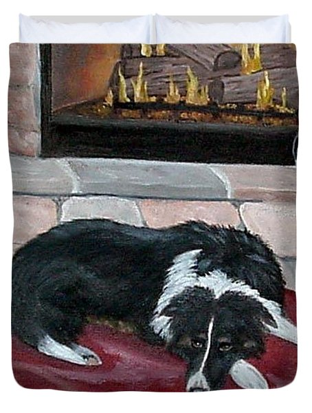 Duvet Cover featuring the painting A Place By The Fire by Fran Brooks