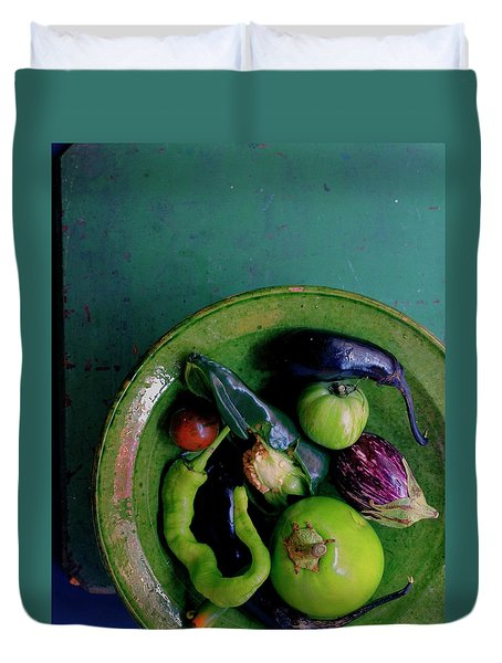 A Plate Of Vegetables Duvet Cover by Romulo Yanes