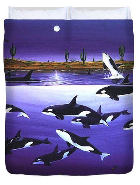 Duvet Cover featuring the painting A Pod Of Desert Orcas by Lance Headlee