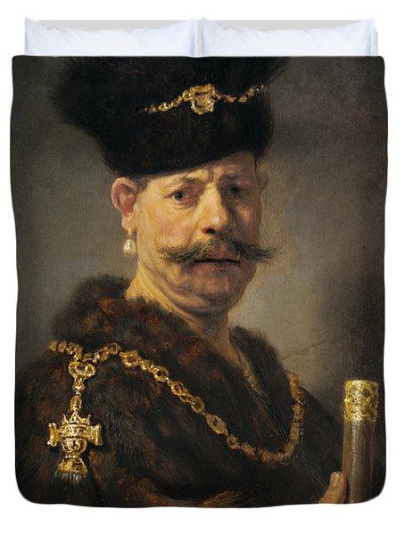 A Polish Nobleman Duvet Cover by Rembrandt
