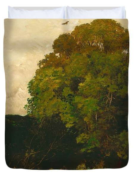 A Pond In The Morvan Duvet Cover by Charles Francois Daubigny