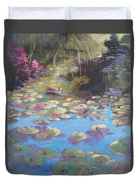 A Pond Reflection Duvet Cover by Kathy  Karas