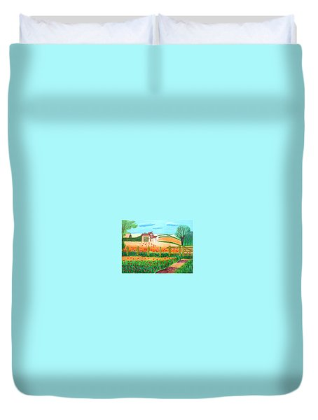 Duvet Cover featuring the painting A Poppy Field by Magdalena Frohnsdorff