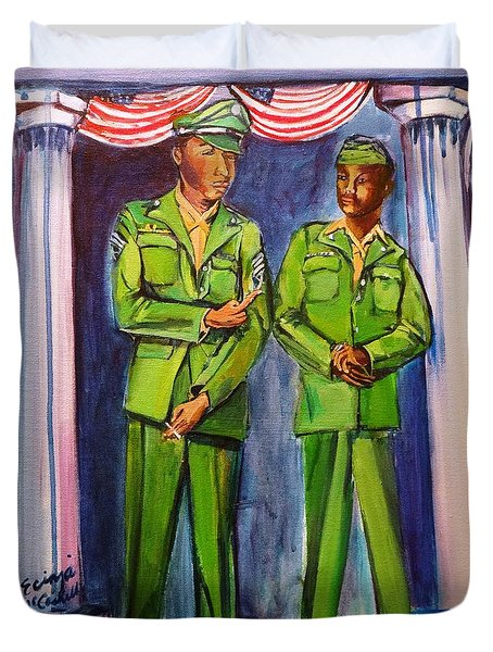 Duvet Cover featuring the painting Daddy Soldier by Ecinja Art Works