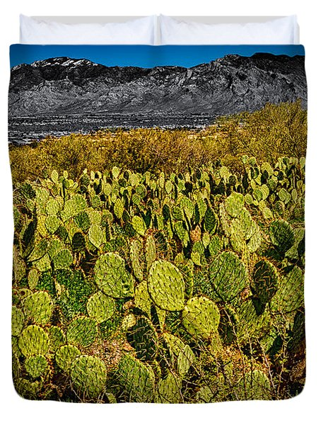 Duvet Cover featuring the photograph A Prickly Pear View by Mark Myhaver