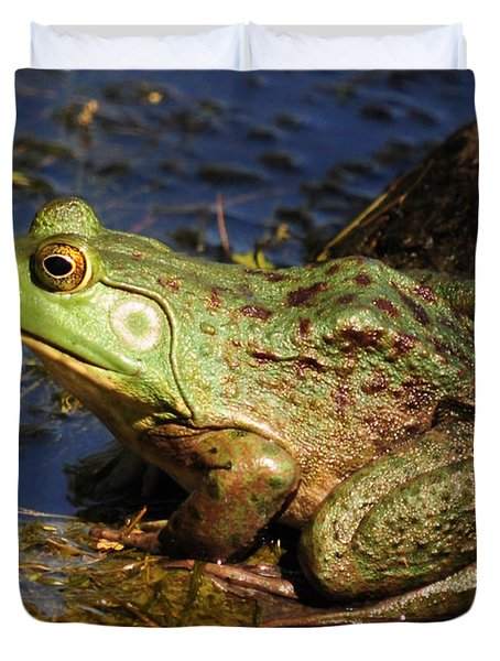Duvet Cover featuring the photograph A Prince Of A Frog by Kathy Baccari
