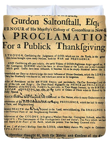 A Proclamation Of Thanksgiving Duvet Cover by Bill Cannon