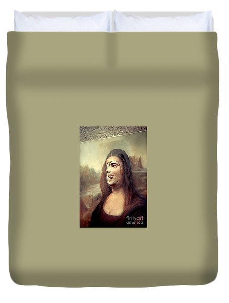 A Profile Of Mona Lisa Duvet Cover by Michael Hoard