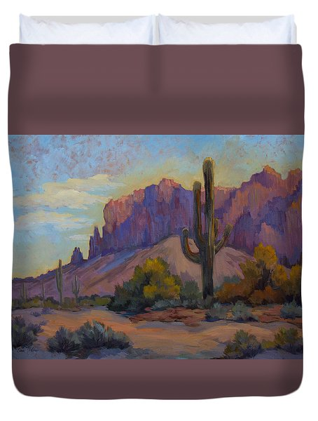 A Proud Saguaro At Superstition Mountain Duvet Cover