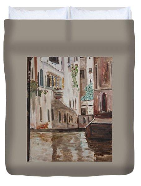 A Quiet Venice Canal Duvet Cover