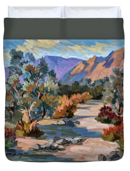 A Quiet Walk In Smoketree Forest Duvet Cover by Diane McClary