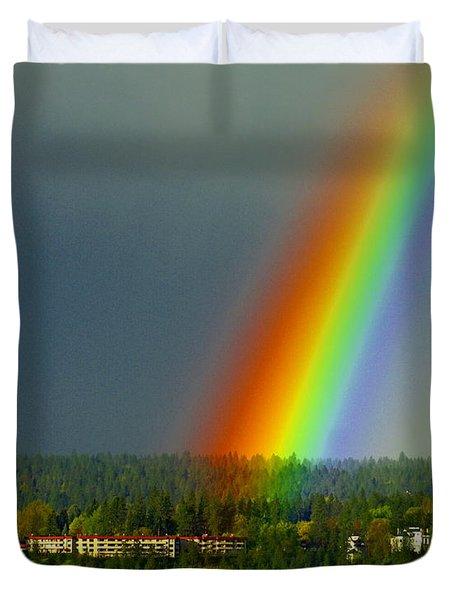 A Rainbow Blessing Spokane Duvet Cover