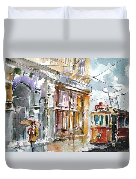 A Rainy Day In Istanbul Duvet Cover