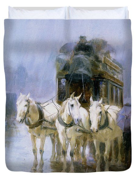 A Rainy Day In Paris Duvet Cover by Ulpiano Checa y Sanz