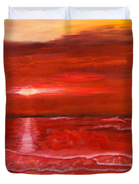 A Red Sunset Duvet Cover by J Cheyenne Howell