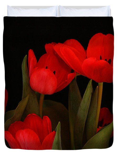 A Red Tulip Day Duvet Cover