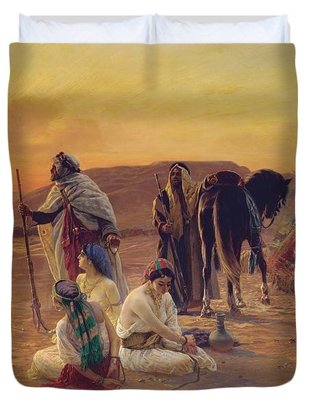A Rest In The Desert Duvet Cover by Otto Pilny