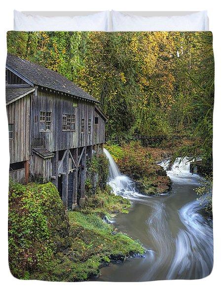 A River Flows Through It Duvet Cover by David Gn
