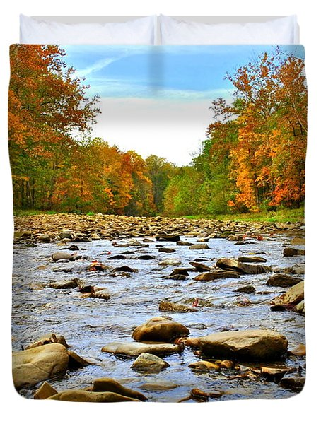 A River Runs Through It Duvet Cover by Frozen in Time Fine Art Photography
