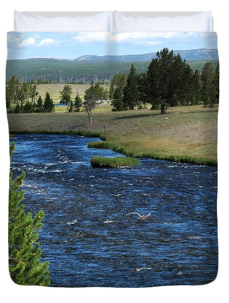 Duvet Cover featuring the photograph A River Runs Through Yellowstone by Laurel Powell