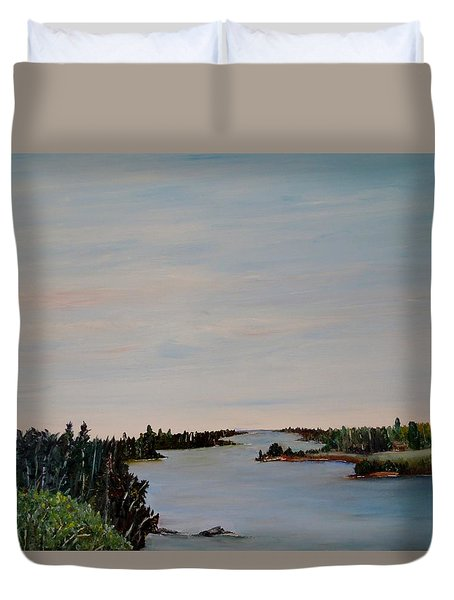 Duvet Cover featuring the painting A River Shoreline by Marilyn  McNish
