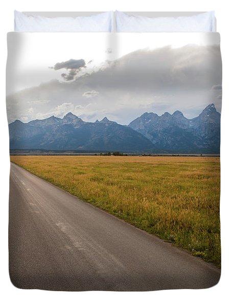 A Road Leading Toward The Grand Teton Duvet Cover