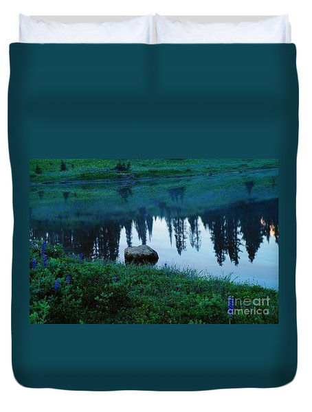 A Rock In The Reflection Duvet Cover by Jeff Swan