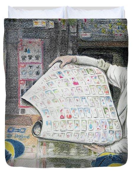 A Roll Of Baseball Cards Duvet Cover by Yoshiko Mishina