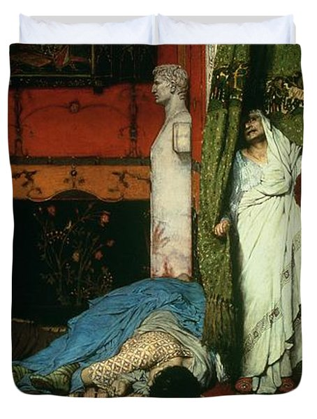 A Roman Emperor   Claudius Duvet Cover by Sir Lawrence Alma Tadema