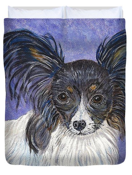 Duvet Cover featuring the painting A Royal Papillon by Ella Kaye Dickey