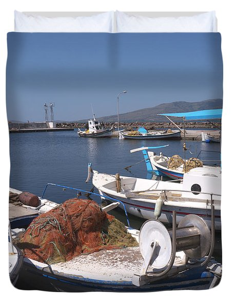 A Safe Anchor In Lesvos Duvet Cover