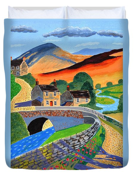 Duvet Cover featuring the painting a Scottish highland lane by Magdalena Frohnsdorff