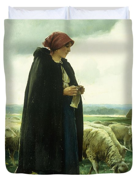 A Shepherdess With Her Flock Duvet Cover by Julien Dupre