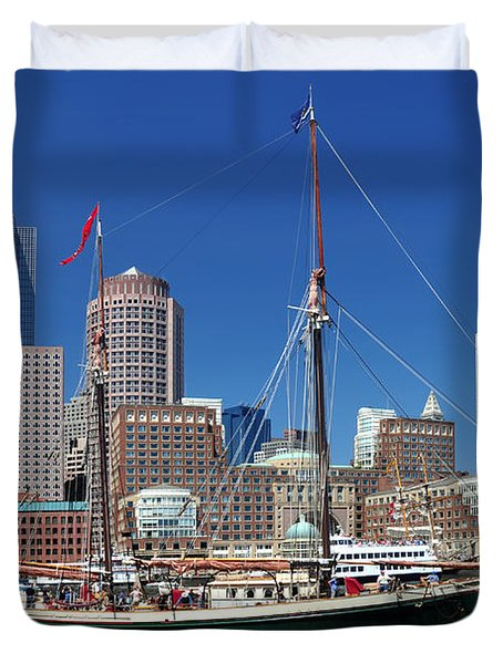 A Ship In Boston Harbor Duvet Cover by Mitchell Grosky