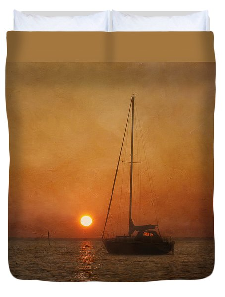 A Ship In The Night Duvet Cover by Kim Hojnacki