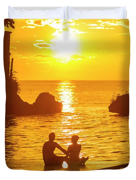 A Silhouetted Couple Watch A Romantic Duvet Cover