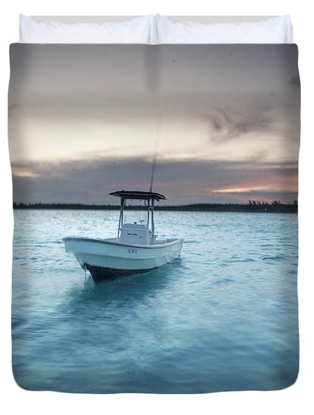 A Skiff Anchored Off The Coast Of Cat Duvet Cover