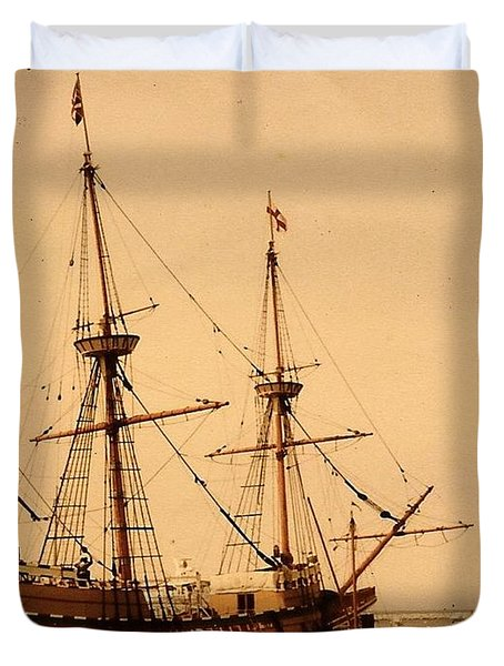 A Small Old Clipper Ship Duvet Cover