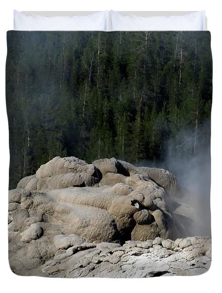 A Smoking Man. Yellowstone Hot Springs Duvet Cover