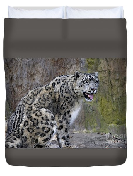 Duvet Cover featuring the photograph A Snow Leopards Tongue by David Millenheft