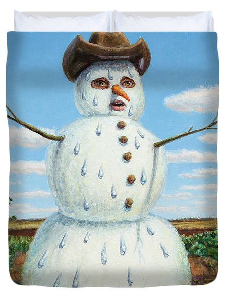 Duvet Cover featuring the painting A Snowman In Texas by James W Johnson