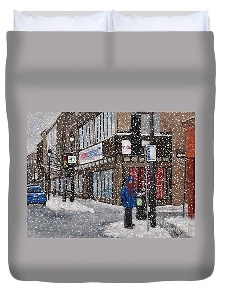 A Snowy Day On Wellington Duvet Cover