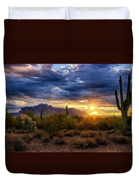A Sonoran Desert Sunrise Duvet Cover by Saija  Lehtonen