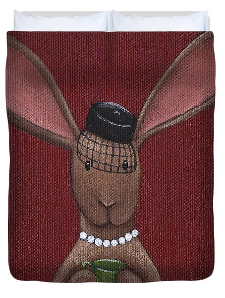 A Sophisticated Bunny Duvet Cover by Christy Beckwith