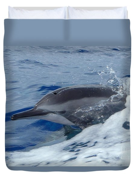Duvet Cover featuring the photograph A Spinner's Smile by Suzette Kallen